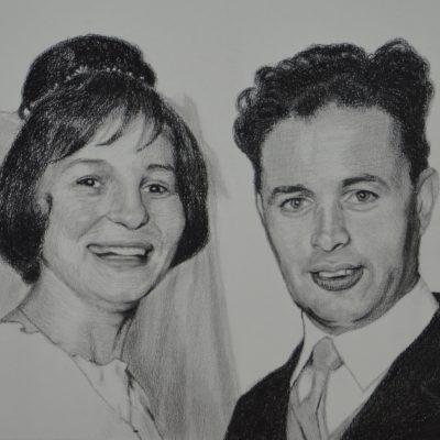 tekening van trouwfoto, 2017